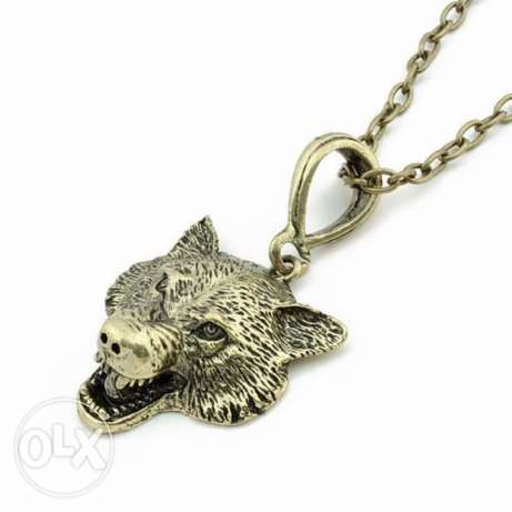 Game Of Thrones Stark Wolf Head Pendant necklace الدورة -  4