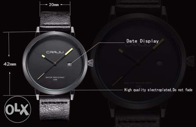 Black leather watch Watch