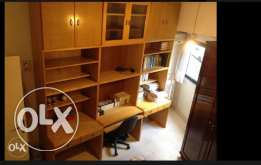 Set of 3 desks with library. Real massive wood