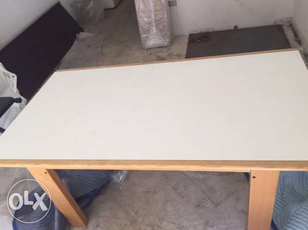 dining table white with teak solid wood