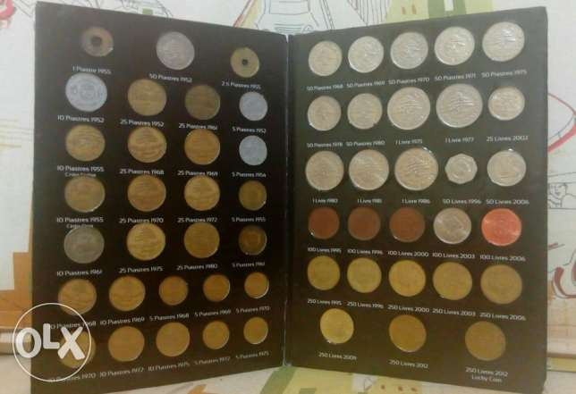 Old Lebanese coins 59 pieces from 59 different dates from 1952 to 2012