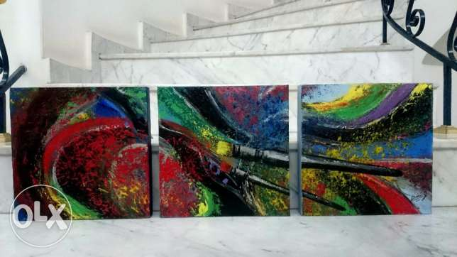 INTO THE NIGHT - set of 3 paintings - acrylic on canvas - 30*30cm each