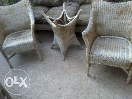 For Rustic Houses! Old Natural Bamboo 5 Chairs w Table, all at 100$