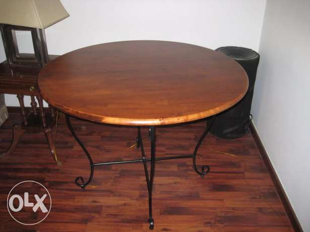 table dining brown wood round