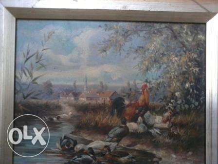 Old Frame oil Painting, hand made, 30-50 years, from Germany, 50$
