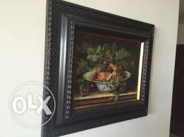 Paintings and 3d framed decorative items, and a brass Petra frame