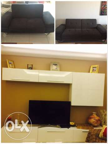 TV set and two sofas