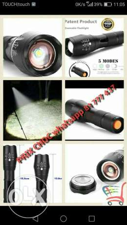 LED Flashlight with ZOOM. 5 modes High Performance.