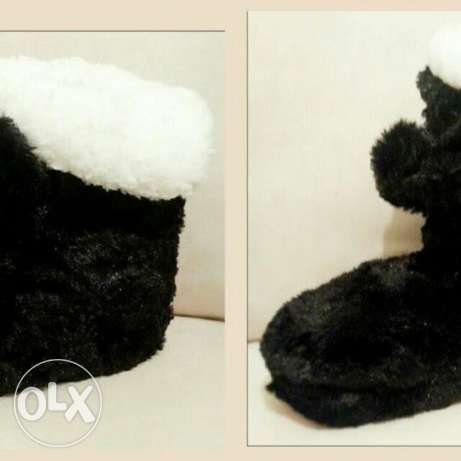 Slipper boots with bow