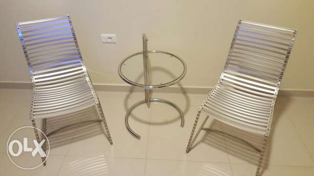 Two Chairs stainless steel and tables rarely used and very new انطلياس -  1
