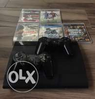 ps3 + 5 cd (gta5,ghost recon,need for speed the run,fifa15,nba 2k 16)