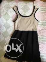 Beige n Black short dress