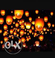 Red Heart Sky Lanterns & Round shape Fire Balloons for Weddings