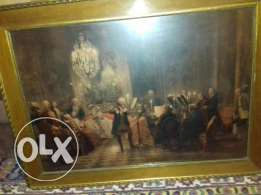 Antique picture in wood frame