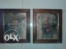 two old paintings on leaves signed