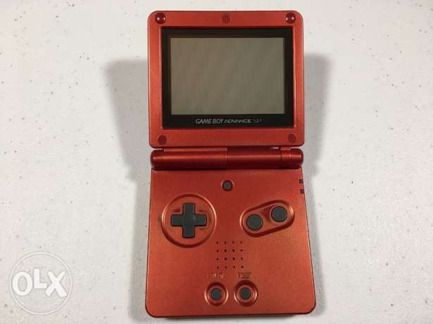 Nintendo Game Boy Advanced SP Handheld System Red + adapter