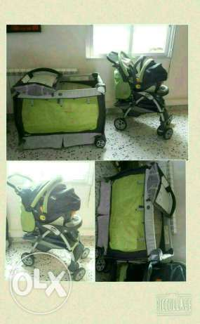 Very good condition Bed and car seat and poussett