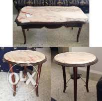 Marble and Wooden Table Set