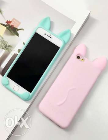 cat ear soft silicon Rubber cases for iphone