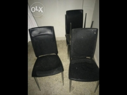 4 Leather Black color Dining Chairs for sale. Very good condition