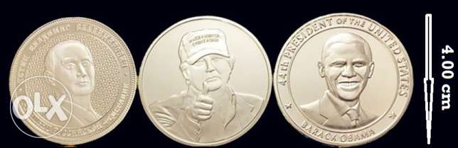 3 Souvenir SILVER PLATED Uncirculated Medals Trump Obama Putin
