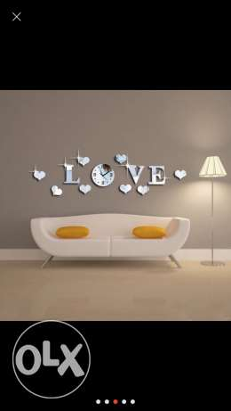 Acrylic 3D Mirror Effect LOVE Decal Wall Sticker with Clock Mechanism