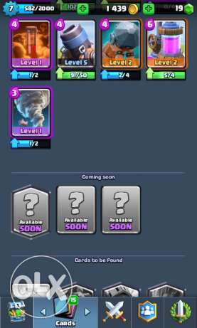 Clash royal lvl 7 1550 trophie,gold:1000,gems:18