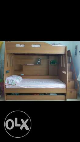 3 beds with shelves and drawers excellent condition