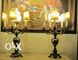 Sevre 19th French porcelain & red copper pair of electric candelabras