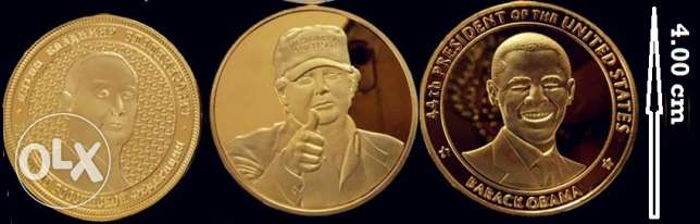 3 Souvenir GOLD PLATED Uncirculated Medals Trump Obama Putin