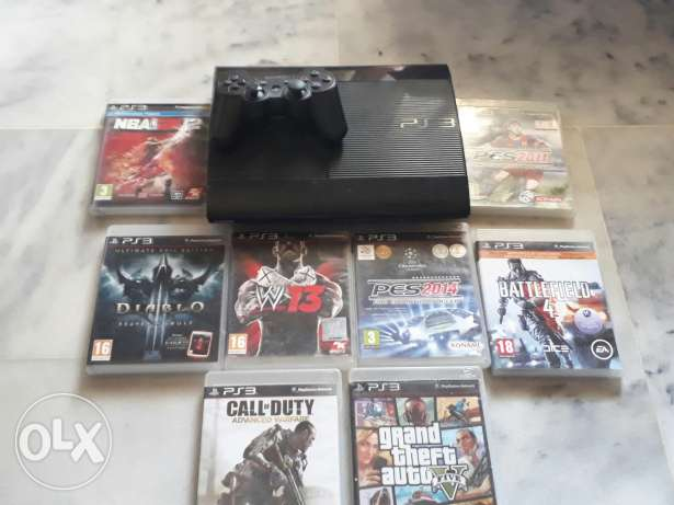 Ps3 slim 500gb with 8 cds + HDMI , no cds 100$