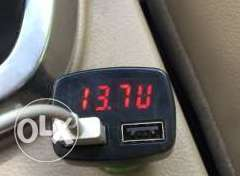 Car battery Voltage and USB charger and temperature display