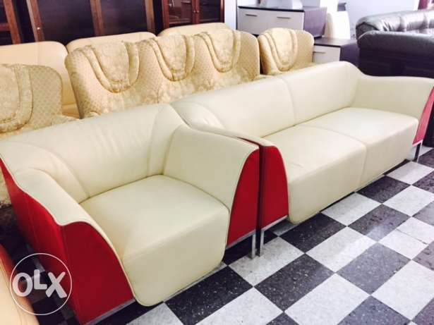 Leather salon beige and white