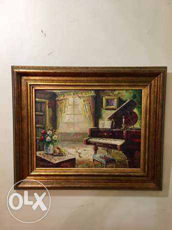 beautiful antique impressionist painting of an interior