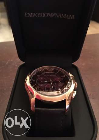 the new EA brown and rose gold leather watch وسط المدينة -  3