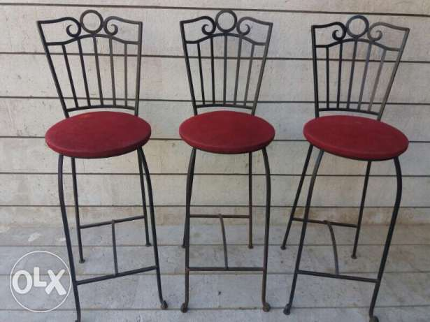 three bar chairs made of Iron all for 100$