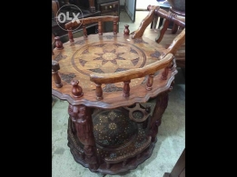 Carriage wood copper table