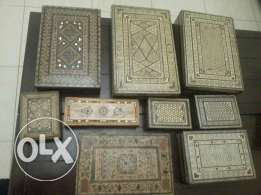 9 of old Oriental boxes