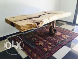 Rustic wooden table .