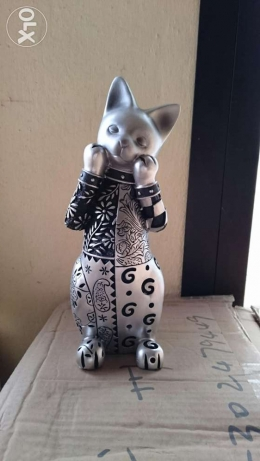 Nice elegant high qaulity wooden silver cat home decor