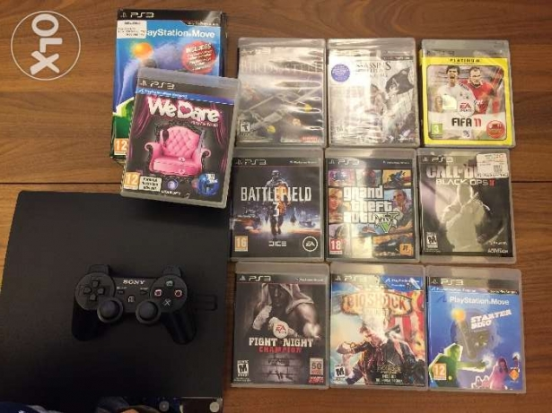 Ps3 500gb with games and ps move