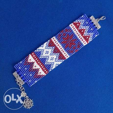 red blue white bracelet