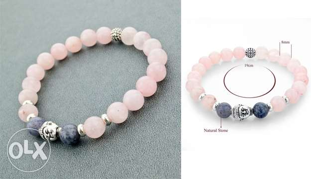 Lumalive pink and gray stretchy stone beads bracelet for woman