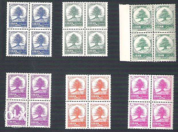 6 Blocks of 4 MNH Complete Set Cedar Tree Cedars Lebanon Liban 1964