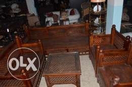 salon solid wood tek set of 4 pieces with table