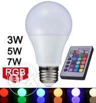 New Arrival LED RGB Bulb Light E27 110V 220V RGB LED Lamp 3W 5W 7W Wit