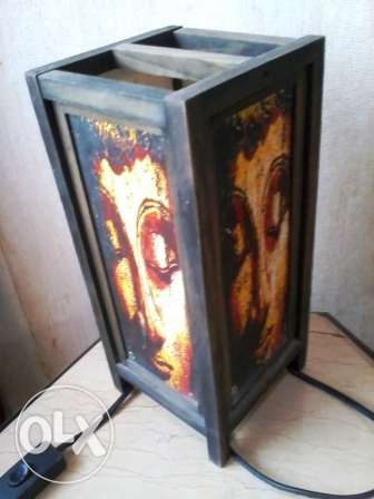 Old Lamp, wood w paper with Budda images, hand made, 30cm, 20$