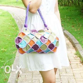 Colorful leather patchwork handbag (Free delivery)
