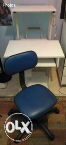 Desk and chair for computer