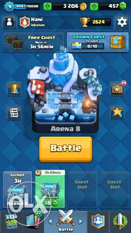 Clash Royale Account Level9 Arena9 2624trophies 2legendaries 457gems
